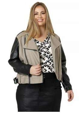 Belted moto jacket with pu sleeves.