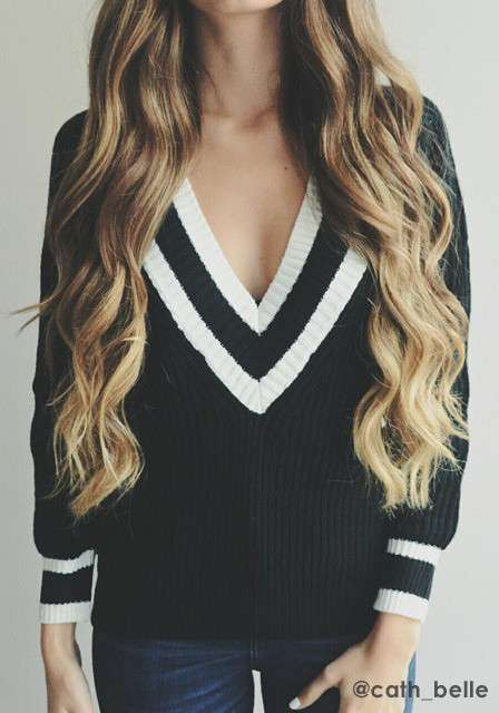 V neckline sweaters