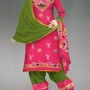 online shopping Unstitched pink-green pure handloom batik chanderi cotton salwar kameez fr