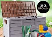 Outdoor Weatherproof Storage Box: Grey/Brown (290L)