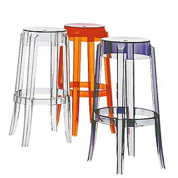 Replica charles ghost stool - 66cm - transparent orange