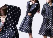 Retro-Style Polka Dot Rain Jacket in Red, Blue or Brown