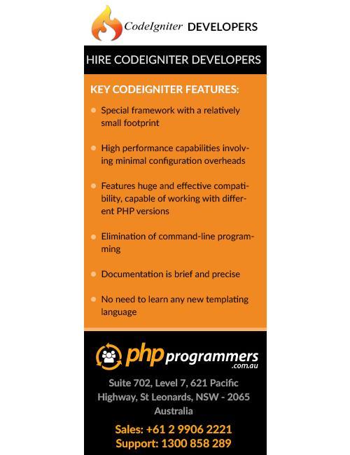 Hire codeigniter web developers sydney