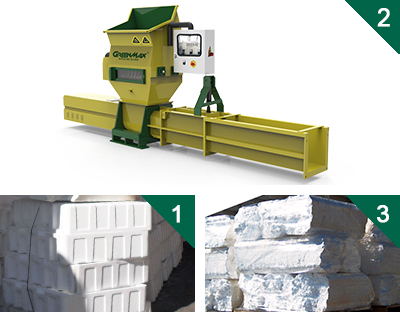 Styrofoam eps polystyrene compactors of greenmax apolo series